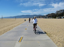 A cycle lane in Santa Monica beach Stock Images