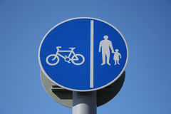 Cycle lane sign. Close up Royalty Free Stock Photography
