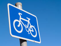 Cycle lane sign blue Stock Photos