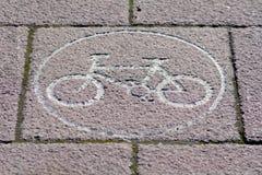 Cycle Lane sign paving slab Royalty Free Stock Photo