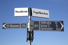 Cycle Lane Signpost, Stockholm, Sweden royalty free stock image