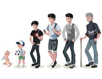 Cycle of life for men. From baby to senior. Stock Image