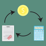 Cycle of money and account to pay taxes Stock Images