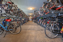 Cycle parking garage central station Royalty Free Stock Photography