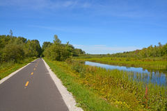 Cycle path. Late summer cycle path landscape Granby/Bromont Quebec Canada Royalty Free Stock Photos