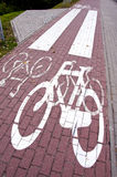 Cycle path mark. Special traffic lane for bicycles Royalty Free Stock Image