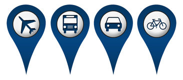 Cycle Plane Bus Car Location Icons. Location icons with cycle, plane, bus, car symbols stock illustration