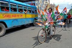 Cycle and political procession at kolkata