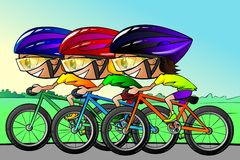 Cycle race. Colourful illustration of three bicyclists compete in the cycle race Stock Photography