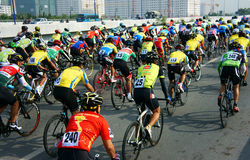 Cycle race, Asia sport activity, Vietnamese rider. HO CHI MINH CITY, VIET NAM- JAN2: Amazing cycle race, sport activity to happy new year at Asia, rider wear Stock Images