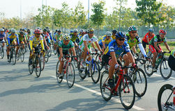 Cycle race, Asia sport activity, Vietnamese rider. HO CHI MINH CITY, VIET NAM- JAN2: Amazing cycle race, sport activity to happy new year at Asia, rider wear Royalty Free Stock Photography