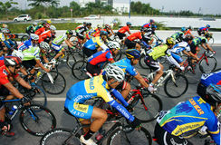 Cycle race, Asia sport activity, Vietnamese rider. HO CHI MINH CITY, VIET NAM- JAN2: Amazing cycle race, sport activity to happy new year at Asia, rider wear Stock Photography