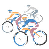 Cycle race. Colorful cycling race with three bike riders. Vector illustration Royalty Free Stock Photography