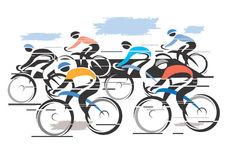 Cycle race peleton. Colorful vector illustration of cycling race with six bike riders Royalty Free Stock Photo