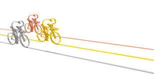Cycle race podium. Cycle race sport competition championship concept. Abstract gold, silver and bronze bicycles racers as symbol of sporting competition and Royalty Free Stock Photos