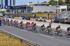 Cycle race. SASSARI, ITALY - May 5th 2017: group of cyclists during 100th giro d`italia cycle race Stock Images