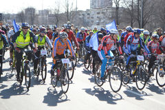 Cycle race on street of St.Petersburg. St.Petersburg, Russia - April 19, 2014: Bike Ride Opening the cycling season 2014. Cycle race on street of St.Petersburg Royalty Free Stock Image