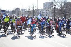 Cycle race on street of St.Petersburg Stock Image