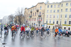 Cycle race on street of St.Petersburg. Royalty Free Stock Photography