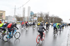 Cycle race on street of St.Petersburg. Stock Photography
