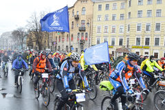 Cycle race on street of St.Petersburg. Royalty Free Stock Photos