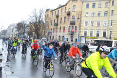 Cycle race on street of St.Petersburg. Royalty Free Stock Photo