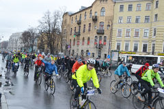 Cycle race on street of St.Petersburg. Royalty Free Stock Image