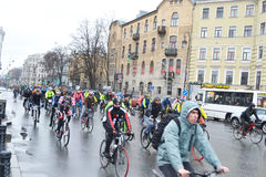 Cycle race on street of St.Petersburg. Stock Photo