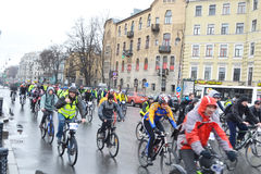 Cycle race on street of St.Petersburg. Stock Images
