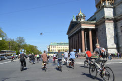 Cycle race on street of St.Petersburg Stock Photography