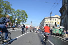 Cycle race on street of St.Petersburg Stock Images