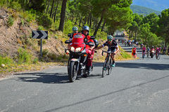 Cycle Racers Holding On To Motorcycle La Vuelta España Stock Photo