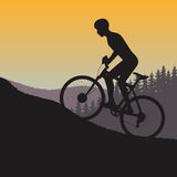 Cycle races in mountains silhouette on a background nature. On the image is presented cycle races in mountains silhouette on a background nature Stock Photography