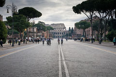 Cycle racing on road to Coliseum Royalty Free Stock Photo