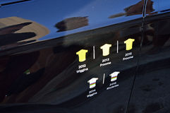 Cycle Racing Team Sky Grand Tour Winners. A record of Team Sky's grand tour winners on the Team car during the Time Trial stage of the 2016 La Vuelts de España Royalty Free Stock Photo