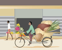 Cycle rickshaw. An illustration of an asian man riding on a cycle rickshaw through a town with a heavy load Royalty Free Stock Image