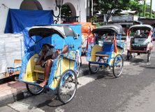 Cycle rickshaw or Becak in Indonesia Stock Photo