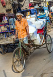 Cycle rickshaw with cargo in the streets of Delhi Royalty Free Stock Image