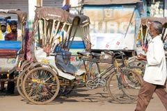 Cycle rickshaw in the main street of Puri Stock Image