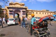 Cycle rickshaw near City Palace in Jaipur, India Stock Photo