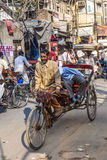 Cycle rickshaw with passengers Stock Photo