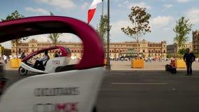 Cycle rickshaw in Plaza de la Constitucion of Mexico City stock footage