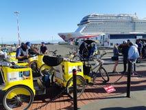 Cycle rickshaws at Cruise Ship Terminal stock photos