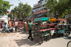 Cycle rickshaws in Delhi, India Royalty Free Stock Images