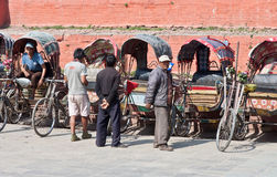Cycle rickshaws in Kathmandu, Nepal. Stock Photos