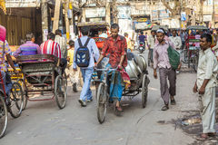 Cycle rickshaws in the streets of Delhi Royalty Free Stock Photography