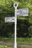 Cycle route direction sign in Ham near Kingston Stock Images