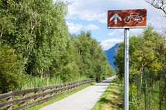 Cycle route directional sign in Italy Stock Images