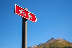 Cycle route directional sign in Switzerland Stock Images