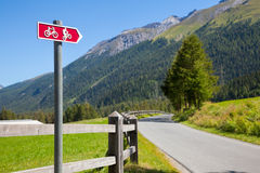 Cycle route directional sign in Switzerland Stock Photos